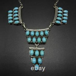 Signed Vintage NAVAJO Sterling Silver TURQUOISE Cluster NECKLACE & EARRINGS Set