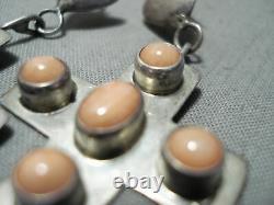 Signed Vintage Navajo Native American Pink Coral Sterling Silver Earrings