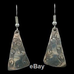 Signed Vintage Navajo Native American Stamped Sterling Silver Dangle Earrings