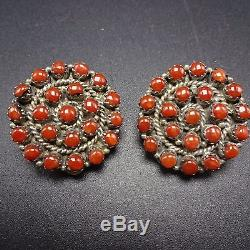Signed Vintage ZUNI Sterling Silver & CORAL Petit Point EARRINGS Clip-On
