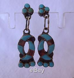 Signed Vintage ZUNI Sterling Silver TURQUOISE Inlay Hummingbird Design EARRINGS
