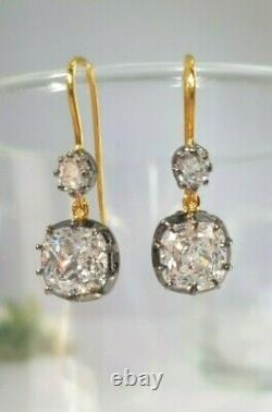 Solid 925 Sterling Silver White Cushion Round Vintage Style Two Tone CZ Earrings