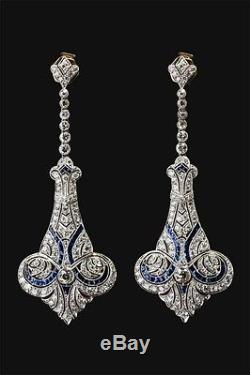 Solid 925 sterling silver vintage victorian style earrings dangle screw back new