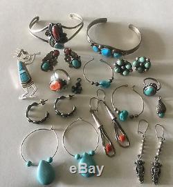 Southwestern Jewelry Lot Vintage Sterling Turquoise 75g Bracelets Earrings Rings