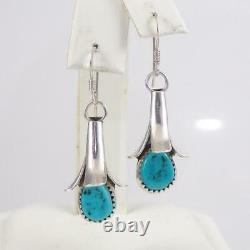Squash Blossom Vtg Native American Sterling Silver Blue Turquoise Earrings LFK5