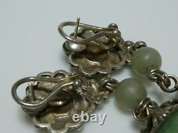 Stephen Dweck Sterling Silver Flower Nephrite Jadeite Vintage Dangle Earrings