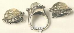 Stephen Dweck Vintage Sterling 925 Carved Stone Ring & Earring Set