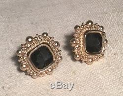 Stephen Dweck Vintage Sterling Silver Large Black Onyx Intaglio Earrings 1989