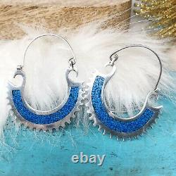 Sterling Silver Crushed Turquoise Large Hoop Earrings Mexico Reversible Vintage