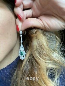 Sterling Silver Earrings Paste Crystal Antique Style Argento Orecchini Vintage