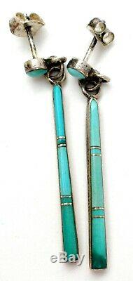 Sterling Silver Earrings with Inlay Turquoise Blue Gemstones Signed PU Vintage