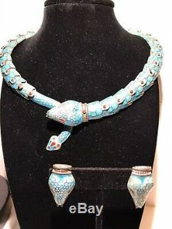 Sterling Silver Enamel snake necklace with earrings 925 Mexico Rare Vintage
