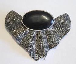 Sterling Silver Onyx Amethyst Marcasite Earrings & Brooch Vintage 1970's