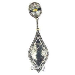 Sterling Silver Pearl Dangle Earrings 14K Gold Diamond Vintage Style Jewelry