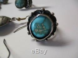 Sterling Silver Sculptures Earrings Navajo Feather Ring Turquoise Vintage Art