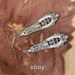 Sterling Silver Spoon Earrings Antique Vintage Rose Point Rosepoint Wallace