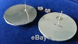 Sterling Silver Turquoise Lapis Earrings Vintage Retro Multi Stone Pierced HS