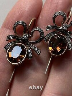 Sterling Silver Vintage Antique Style Earrings Orecchini Argento 925 Cristalli
