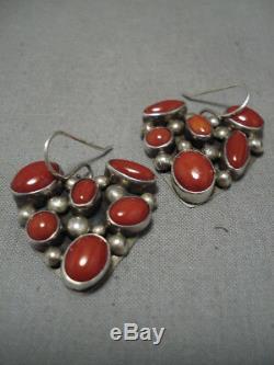 Striking Vintage Navajo Coral Sterling Silver Native American Heart Earrings