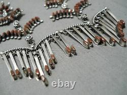 Striking Vintage Zuni Native American Dangle Chandelier Sterling Silver Earrings
