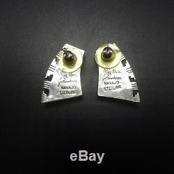 Stunning ALVIN YELLOWHORSE Vintage NAVAJO Sterling Silver CHANNEL INLAY EARRINGS