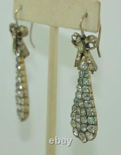 Stunning Georgian Sterling Silver & Rock Quartz Crystal Earrings