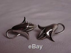 Stunning VTG Georg Jensen Jopol Sterling Silver Modernist Screw Back Earrings