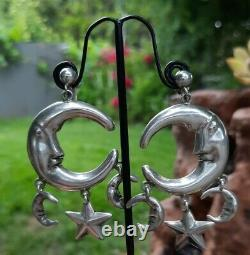 Stunning! Vintage Man In The Moon Earrings 925 Sterling Silver Mexico Dangle