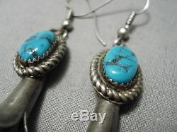 Stunning Vintage Navajo Squash Blue Turquoise Sterling Silver Earrings Old