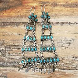 Stunning Vintage Turquoise Earrings, Zuni Sterling