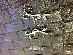 TIFFANY & CO Floating Bow Sterling Silver Earrings Vintage Dangle Estate