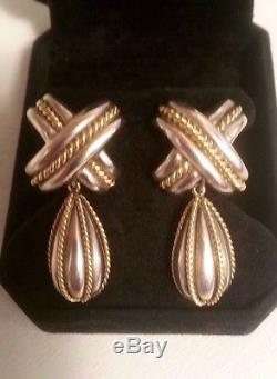 TIFFANY & CO VINTAGE 1990 18K GOLD STERLING SILVER SIGNATURE X CROSS EARRINGS