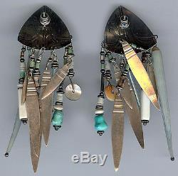 Tabra Vintage Sterling Carved Scarabs Pierced Post Long Dangle Bead Earrings