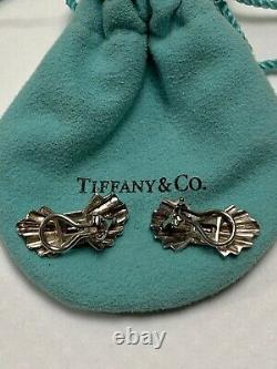 Tiffany & Co Clip Earrings Sterling Silver / 14k Gold / Sapphires Vtg 1985