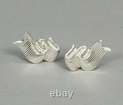 Tiffany & Co Designer Angela Cummings Earrings Ribbon Sterling Omega Back Vtg