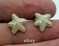Tiffany & Co Estate Vintage Rare Bumpy STARFISH Sterling Silver Pierced Earrings