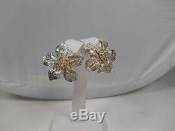 Tiffany & Co Flower Earrings Sterling Silver Vintage Pierced Omega Rare, Pouch
