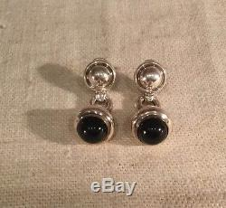 Tiffany & Co Italy Vintage Authentic Sterling Silver Black Onyx Dangle Earrings