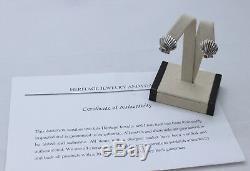 Tiffany & Co Sterling Silver & 18kt Sapphire Shell Earrings Vintage Estate Find