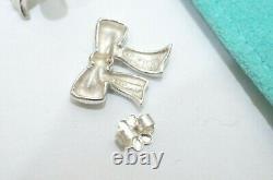 Tiffany & Co. Sterling Silver Bow Ribbon Stud Earrings Vintage