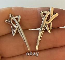 Tiffany & Co Sterling Silver Vintage Paloma Picasso Shooting Star Earrings