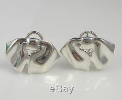 1ab1407af Tiffany & Co Unusual Vintage 1990 Sterling Silver Bow Ribbon Pierced  Earrings