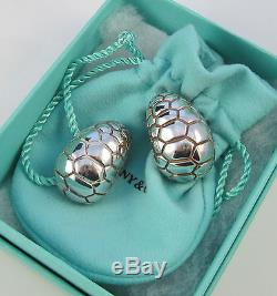 Tiffany & Co Vintage 1996 HUGE REPTILE DOME Sterling Silver Clip On Earrings
