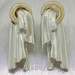 Tiffany & Co. Vintage Estate 14k Yellow Gold & Sterling Silver Earrings
