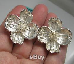 Tiffany & Co Vintage Huge Sterling Silver Dogwood Flower 23.2 Gram Clip Earrings