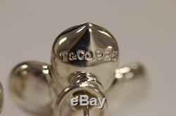Tiffany & Co Vintage Large Sterling Silver Dogwood Flower Omega Pierced Earrings