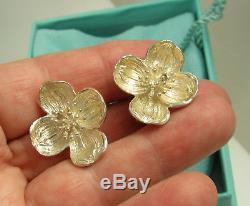 Tiffany & Co Vintage Large Sterling Silver Dogwood Flower Pierced Earrings