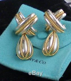 Tiffany & Co Vintage Sterling Silver 18k Yellow Gold Signature Dangle Earrings