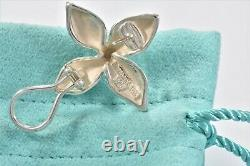 Tiffany & Co Vintage Sterling Silver Flower Petal Earrings and Pouch Rare Clip