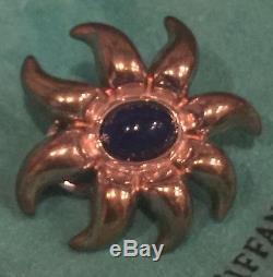 Tiffany & Co. Vintage Sterling Sliver Blue Lapis Gemstone Sun Earrings RARE